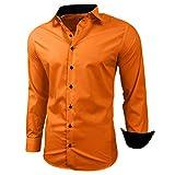 Kontrast Business Anzug Freizeit Polo Slim Fit Figurbetont Hemd Langarmhemd R-44, Farbe:Orange;Größe:XL