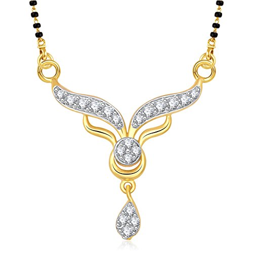 Meenaz Mangalsutra Set Gold Pendant With Chain in American Diamond Jewellery For Women MS813  available at amazon for Rs.152
