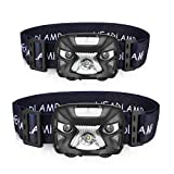 AIPROV 2Pack Rechargeable LED Headlamp Flashlight-200 Lumen, Smart Sensor Waterproof Lightweight Bright White