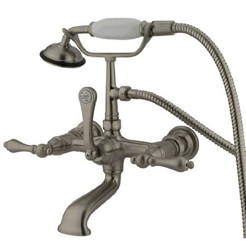 Kingston Brass CC551T8 Vintage Leg Tub Filler with Hand Shower and Straight Arm, Satin Nickel by Kingston Brass -