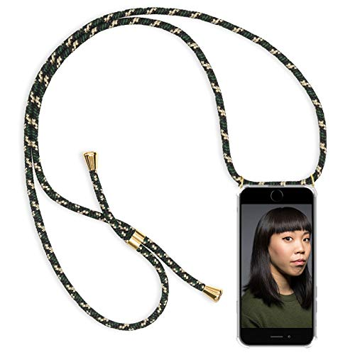 Zhinkarts Handykette kompatibel mit Apple iPhone 6 / 6S - Smartphone Necklace Hülle mit Band - Schnur mit Case zum umhängen in Grün Camouflage