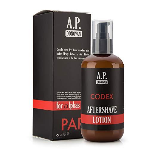 A.P. Donovan - Aftershave Lotion Herren ︎ Balsam für die Haut ︎ Beruhigendes Fluid für empfindliche und normale Haut ︎ 250ml ︎ CODEX Bartpflege-Serie