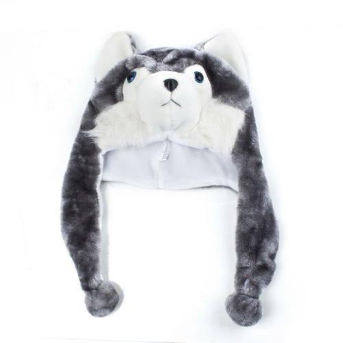 TOOGOO(R) Cartoon Tier Husky Wolf Fluffy Pluesch Hut Muetze Schal Ohrenschuetzer fuer Erwachsene Kinder Frauen Maedchen