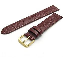 Condor Croco Grain Leather Watch Strap, Brown, Buckle, 18mm 244R