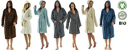 Bio Damen und Herren Bademantel mit Kapuze, organic Baumwolle, GOTS-Global Organic Textile Standards zertifiziert, Grösse M, Farbe Herren, Blue