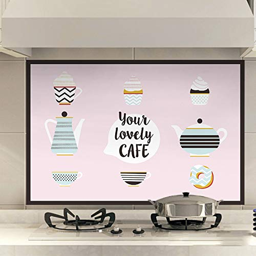 YwlQTie Küche Öl-Nachweis Aufkleber hohe Temperatur wasserdicht und Öl-Nachweis Selbstklebende Wandaufkleber mit Kapuze Tapetenaufkleber, 60 * 90cm