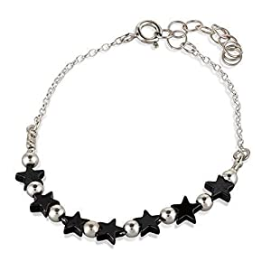 Hämatit Stern Armband Schwarz Hämatit Sterling Silber Perlenarmband Länge 15,5 cm + Verlängerung