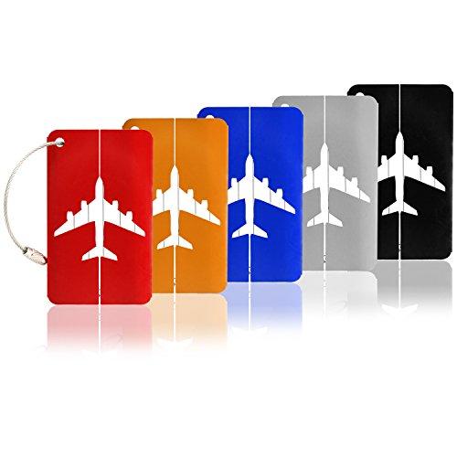 com-four® 5 Kofferanhänger aus Aluminium, Gepäckanhänger zum Beschriften (05 Stück - bunt mit Flugzeugmotiv)