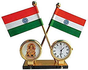 Ramanta Indian Flag with Watch & God Idol for Car Dashboard & Official Purpose - Brass Coated Pipes for Renault Lodgy, (Pack of 1, Assorted God Idol)