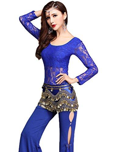 Kostüme Arabische Bauchtanz (YiJee Damen Spitzen Bauchtanz Kostüm Set Tops Side Slits Bauchtanz Hose Dunkel Blau)