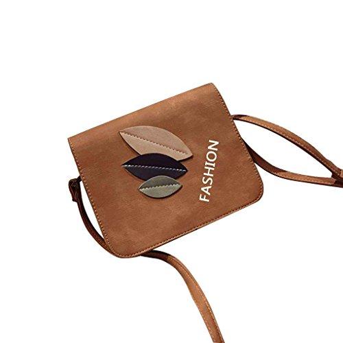 Miaomiaogo Sacchetto di spalla di cuoio di cuoio dell'unità di elaborazione tre lati Bag quadrato casuale del messaggero Marrone