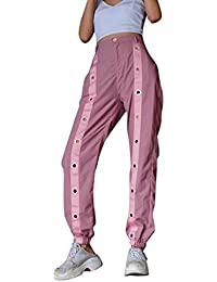 Kairuun Mujer Pantalones Hip Hop Streetwear Pantalon Estilo Callejero  Empalmados Pantalones Rosa 77df1b27b8b