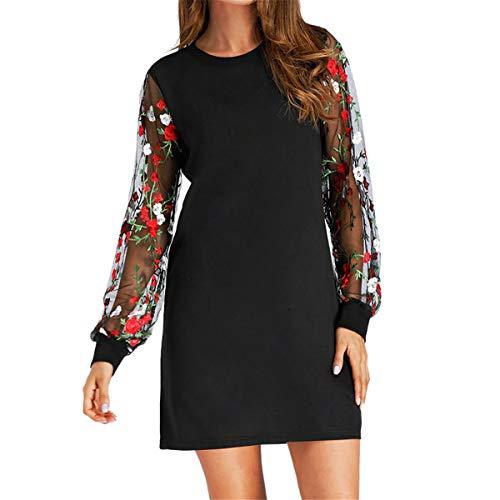 (B-commerce Mode Blumenkleid - Damen Vintage Basic O Neck Rose Stickerei Mesh Lange Ärmel Party Short Mini Cocktail Swing Kleid)