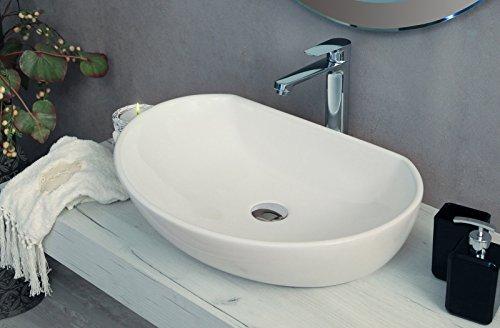 Yellowshop - Lavabo Da Appoggio Cm 60 x 41 Bacinella Lavandino Lavello In Ceramica Bianco Sanitari Bagno Design Moderno Modello Ambient