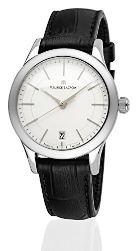 Maurice Lacroix Women's Watch Les Clas Techniques Analogue Quartz Black Leather Strap White Dial Sapphire Glass Date Silver LC1026 SS001 131 1 Swiss Made – suitable for engraving Personalise Engraver