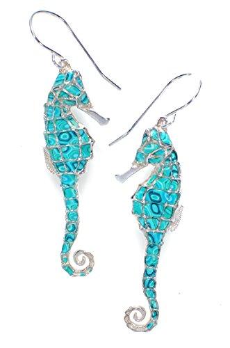 Boucles d'Oreille Hippocampe Pendantes - Bijoux Fait Main en Argent fin 925 et Fimo Turquoise