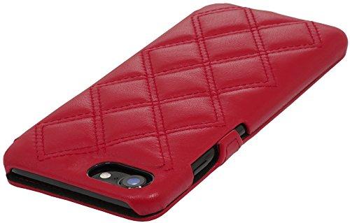 StilGut Book Type Case mit Clip, Hülle Leder-Tasche für iPhone 8 & iPhone 7. Seitlich klappbares Flip-Case aus Echtleder für das Original iPhone 8 & iPhone 7 (4,7 Zoll), Schwarz Nappa Rot Nappa - Karat