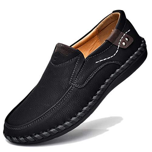 Chaussure de Travail Homme Basse Plate a Enfiler Chaussure de Ville de Marche au Loisir en Cuir Souple Résistant à l'usure