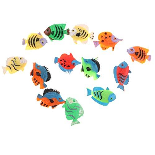 MagiDeal 12 Pieces Tropical Fish Figures Marine Animal Toys Plastic Home Decor