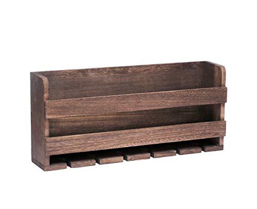 Hjtdrhjtyj portabottiglie e porta bicchiere da parete, retro in legno massello e accessori per la decorazione di bar da cucina, legno di paulonia, può contenere 6 bottiglie di vino rosso e 6 calici