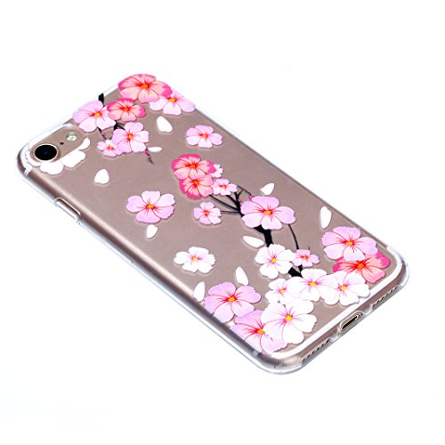 Relief Souple Étui Pour iPhone 7, Asnlove Soft Silicone TPU Case Motif Couleur Embossed Housse Ultra Mince Coque Transparent Cover Anti Scratch Cas Pour iPhone 7 - Mandala Fleur Rose de Pêcher
