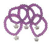 fizzybutton Geschenke Set von 5violett Gummizug Perlen Armbänder Prinzessin Krone für jüngere Mädchen Geburtstag Partytüten