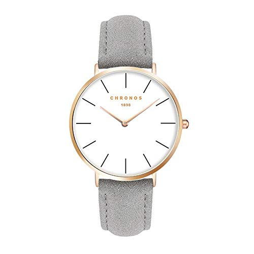 Unisex Uhren Groß Runde Quarzwerk Damenuhren Herrenuhren für Damen und Herren Leder Metall Klassisches, Grau-Rose Gold