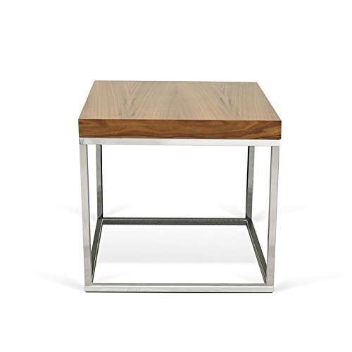Paris Prix - Temahome - Table D'appoint 50cm Prairie Noyer & Chrome