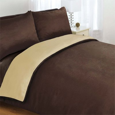 6PC COMPLETE REVERSIBLE CHOCOLATE BROWN / LATTE KING DUVET COVER & FITTED SHEET BED SET by Viceroybedding