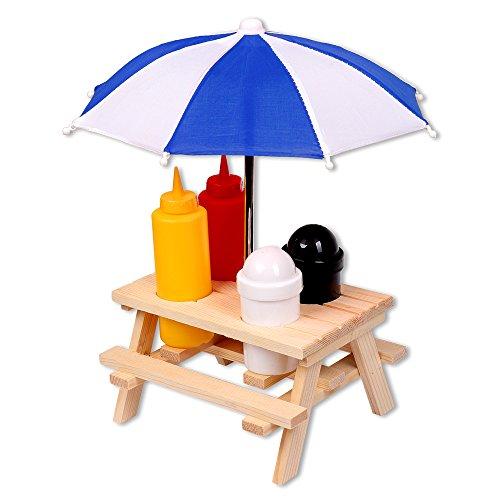 Schramm® Gewürzständer Picknicktisch mit Sonnenschirm Menage Senf Ketchup Salz Pfeffer Spender BBQ Menage Gewürzhalter Gewürzregal 6-teiliges Set - Picknick-tisch Zubehör