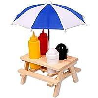 schramm – Especiero mesa de picnic con sombrilla Menage Mostaza dispensador de sal pimienta Ketchup Heinz
