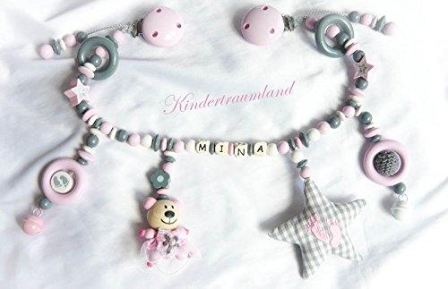 Kinderwagenkette mit Namen - Mädchen - Geschenk zur Taufe, Geburt (Rosa, Grau, Weiß)