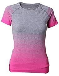 Hippolo T-shirt Femme T-shirt Sport T-shirt Couleur T-shirt Sport T-shirt Manches Courtes Top Top Short Sleeve Round Neck (L, Rose Rouge)