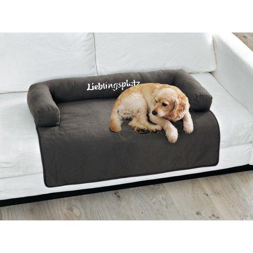 hundeinfo24.de Hundekissen Schriftzug Lieblingsplatz Hundedecke Baumwolle grau ca. 90 x 65 cm