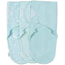 Manta Envolvente para Bebé y Recien Nacido – 3x Saco de Dormir Manta de Arrullo Cobija 100% Algodón - Verde 3-6 Meses