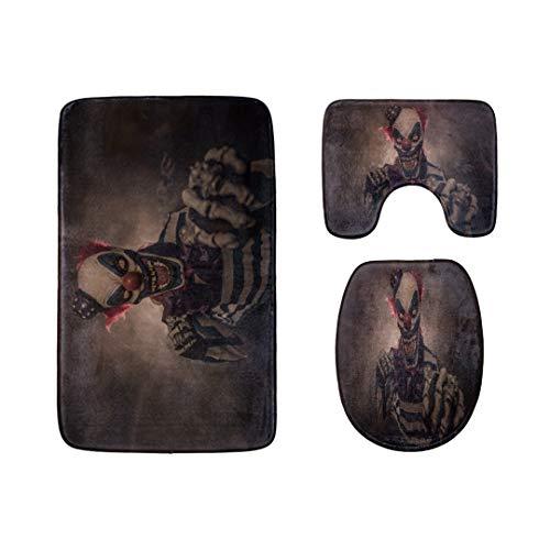 Evil Scary Clown Monster Badteppich-Matten-Set 3-teilige, weiche Duschbadeteppiche, Umrissmatte und WC-Sitzdeckelabdeckung Rutschfeste maschinenwaschbare ()