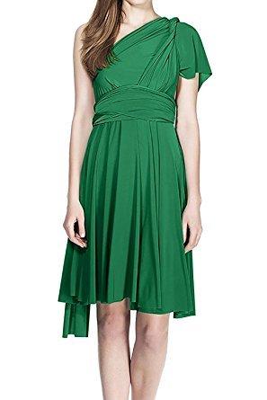 Damen Frauen Multi-tragen Abendkleid Brautjungfer Knielänge Kleid Multiway Kurzes Kleider Elegant Sommer Verbandkleid Trägerkleid Strandkleid Cocktailkleid Partykleid Grün (Transformer Kostüm Womens)