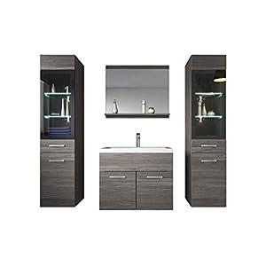 Badezimmer Badmöbel Set Rio XL LED 60cm Waschbecken Bodega (Grau) - Unterschrank 2X Hochschrank Waschtisch Möbel