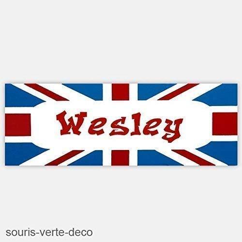 Plaque de porte drapeau anglais avec prénom, déco chambre enfant ado, fille, garçon