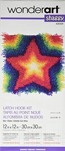 Wonderart Steel Shaggy Latch Hook Kit, Star, Canvas, Stern, 12 x 12 (Kits Latch-hook Wonderart)