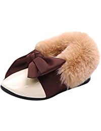 MCYs Kinder Kleinkind Baby Pelz Sneaker Mädchen Bogen warme weiche Anti-Rutsch Schuhe Schneestiefel