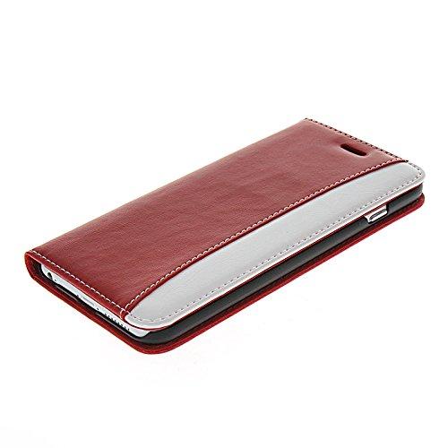 MOONCASE Housse de Protection Coque en Cuir Étui à rabat Case pour Apple iPhone 6 (4.7 inch) Brun Blanc Rouge Blanc