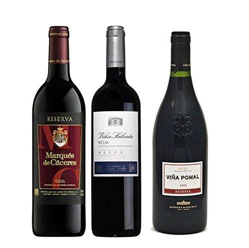 Pack Vino Rioja Clasicos Reserva 3 Botellas. 1 Marqués De Cáceres Reserva, 1 Viña Salceda Reserva Y 1 Viña Pomal Reserva