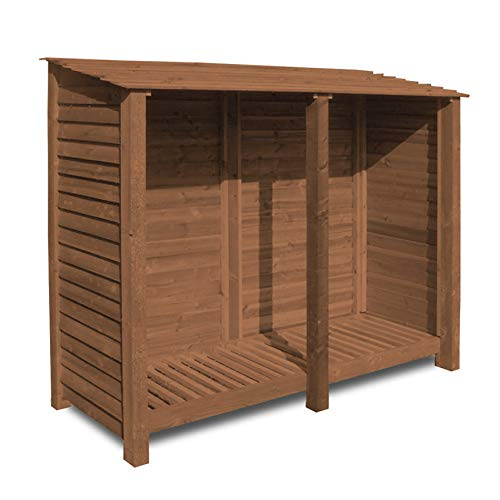 Rutland County Garden Furniture NORMANTON 6FT WOODEN LOG STORE/GARDEN STORAGE, BROWN, HEAVY DUTY, HAND MADE, PRESSURE TREATED.