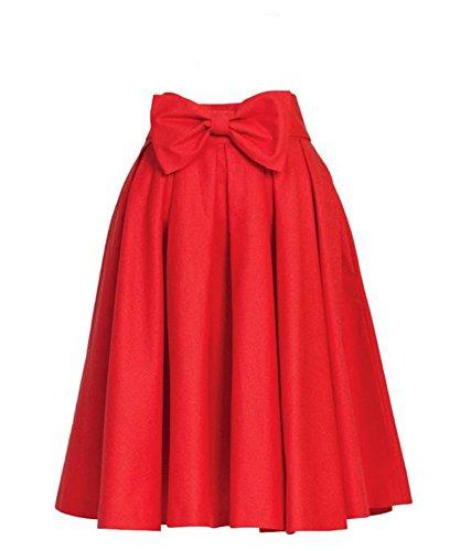 Xiongfeng®Damen Faltenrock Swing Rock Vintage Knielang Rock A Linie mit Taschen Rot,36