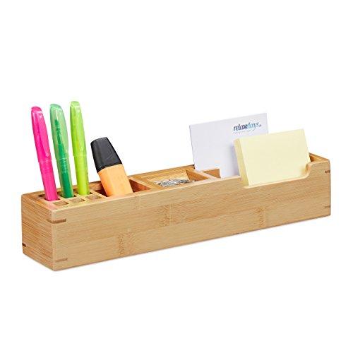 Relaxdays Schreibtisch Organizer Bambus, 11 Fächer Aufbewahrungsbox, Büro Organizer HxBxT: 6 x 32 x 7 cm, natur