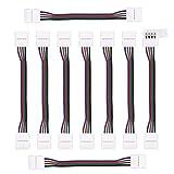 FOCCTS 10Pezzi di Connettore a Striscia Striscia a Filo Rapido Connettore LED Strip 4 pin 10mm RGB 5050