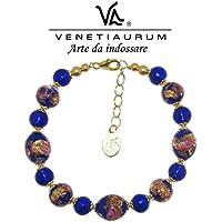 Venetiaurum by Linea Italia - Bracciale donna con perle in vetro originale di Murano e argento 925 - Gioiello made in Italy certificato