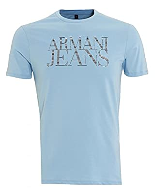 Armani Jeans Men's Crew Neck Logo T-Shirt Blue