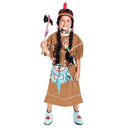 Kostümplanet® Indianer-Kostüm Kinder Mädchen Indianerin-kostüm Kinder-Kostüm Farbe braun Größe 128 (Indianer Kostüm Ideen Für Mädchen)